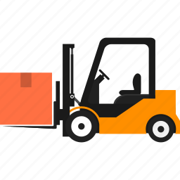 boxes, cargo truck, delivery, forklift, goods, logistics, transportation icon