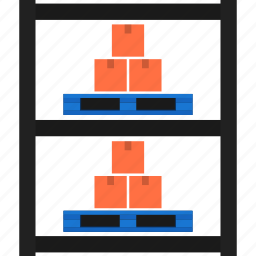 boxes, delivery, package, pallet, rack, storage, warehouse icon