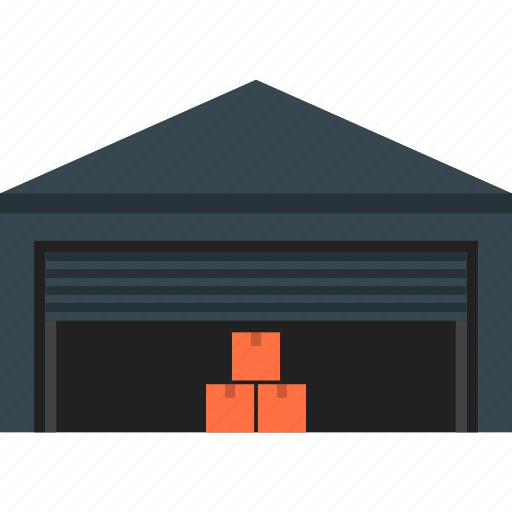 boxes, building, cargo, delivery, depot, storage, warehouse icon