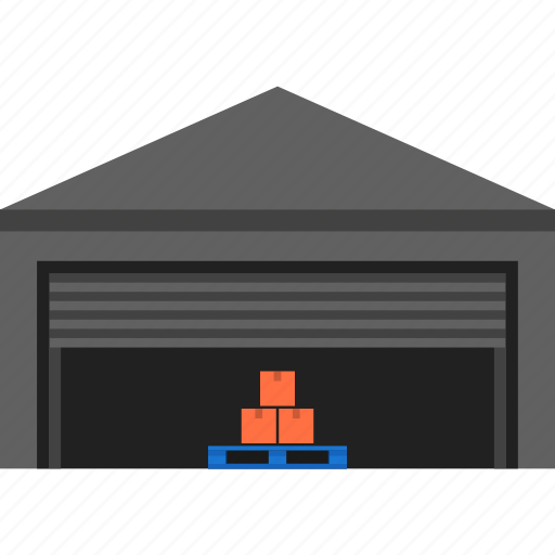 cargo, depot, godown, logistics, storage, transportation, warehouse icon