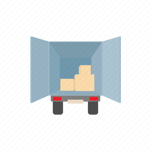 cargo, cartoon, logistic, package, scale, storage, truck icon