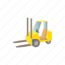 box, cartoon, forklift, loader, transportation, truck, warehouse icon