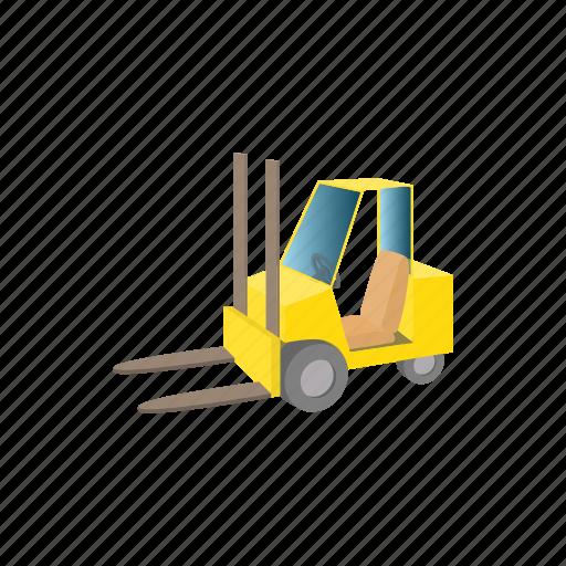 box, cartoon, forklift, loader, transportation, truck, warehouse icon