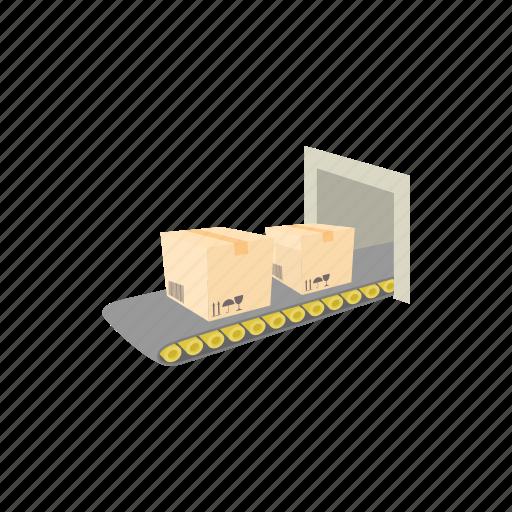 belt, box, cartoon, conveyor, distribution, industry, warehouse icon