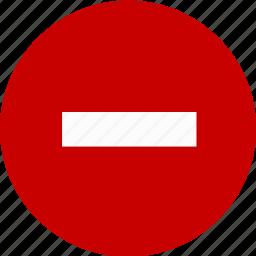 error, minus, negative, stop, warning icon