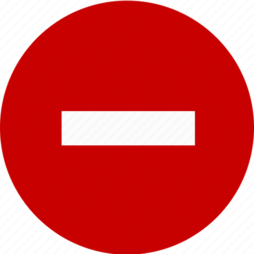 error, minus, negative, stop, warning icon