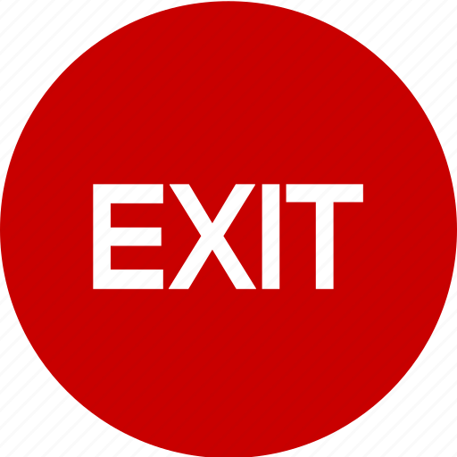 close, emergency exit, exit, get out, quit icon