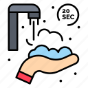 hands, protect, seconds, twenty, washing icon