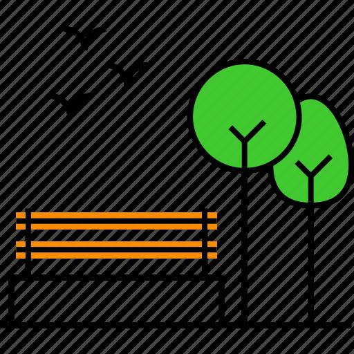 bench, ecology, environment, garden, green yard, national park, nature icon