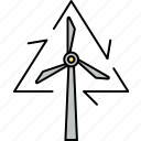 energy recycling, green energy, wind energy, wind recycling, wind turbine, windmill icon