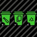 garbage bins, smart wastes, sorting bins, trash bins, trash cans, waste bins icon
