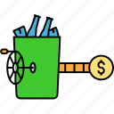 garbage basket, garbage can, garbage income, garbage removing, garbage selling, recycling income icon