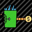 garbage basket, garbage can, garbage income, garbage removing, garbage selling, recycling income icon
