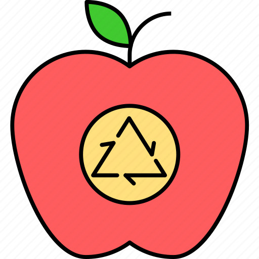apple recycling, food recycling, food waste, fruit recycling, natural recycling, nutrition recycling icon