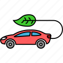 car electricity, green car, green electricity, green transportation, green vehicle, leaf electricity icon