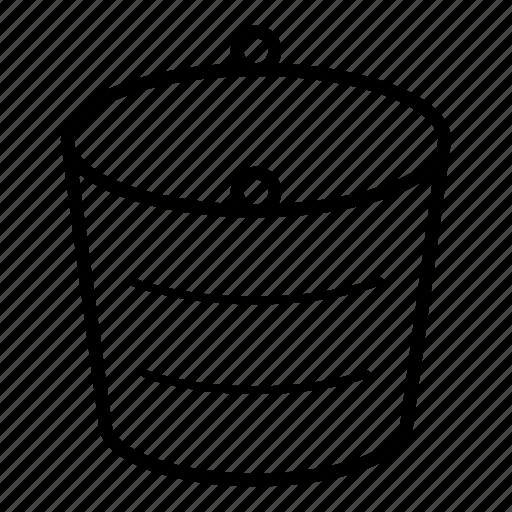 bucket, container, empty bucket, metal bucket, water, water bucket, water drop icon