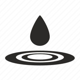 by, drop, on, roundes, water icon