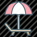beach, chaise, relax, sunbathe, umbrella icon