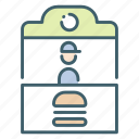 burger, food, park, shop, snack, stall icon