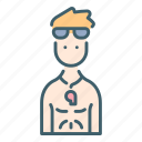 goggles, lifeguard, male, muscle, water, whistle icon