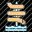 flow, fun, high, park, slider, water icon