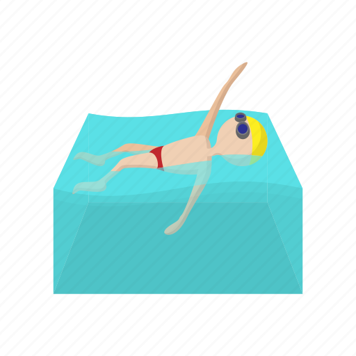 backstroke, cartoon, competition, pool, sport, swim, water icon