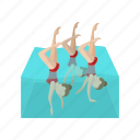 cartoon, coordination, female, performance, sport, swimmer, water icon