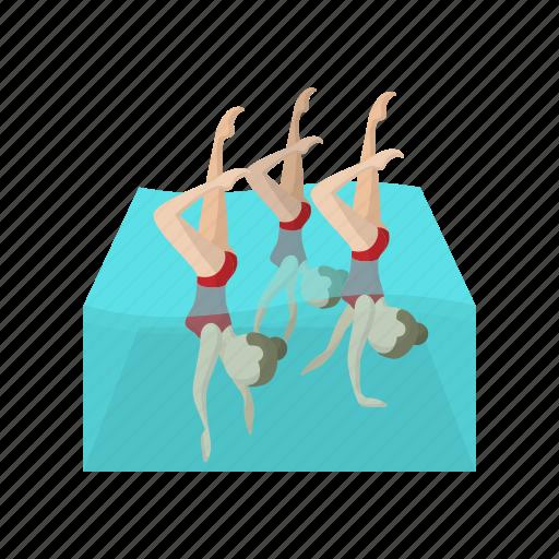 cartoon, coordination, female, performance, sport, swimmer, water icon