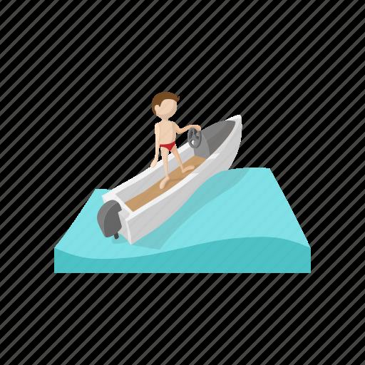 boat, cartoon, sea, sport, summer, vacation, water icon