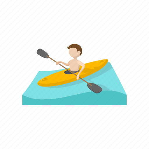 Boat Canoeing Cartoon Competition Sport Team Water Icon