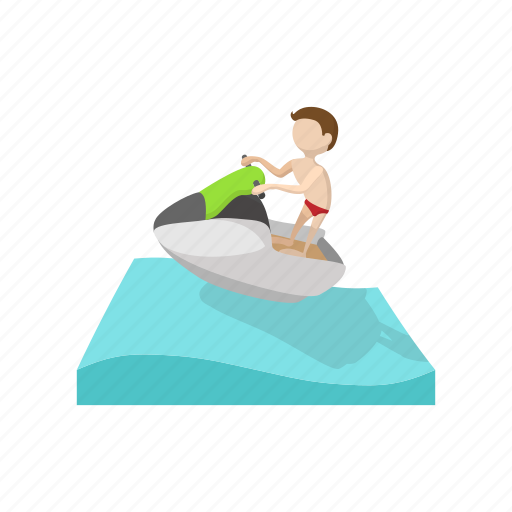 boat, cartoon, jet, sea, ski, sport, water icon