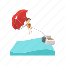 cartoon, extreme, parachute, people, sport, tourism, water icon