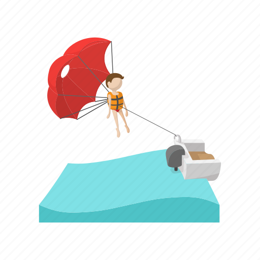 Parachute, people, water, sport, tourism, cartoon, extreme icon