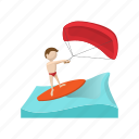 cartoon, kite, kiteboarding, ocean, sea, sport, water