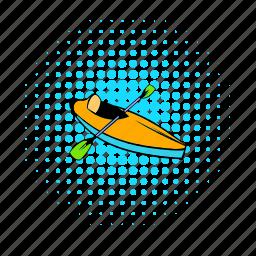active, canoe, comics, kayak, leisure, outdoor, water icon