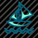 boat, sailboat, sailing, sea, travel icon