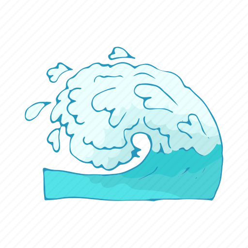 aqua, cartoon, drop, sea, wash, water, wave icon