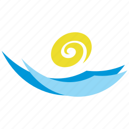 logo, sign, summer, sun, tourism, water, wave icon