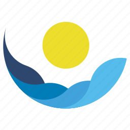 element, logo, sign, sun, tourism, water, waves icon