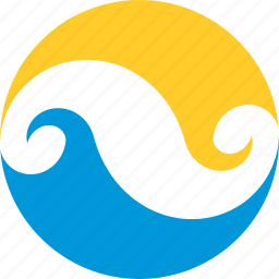 circle, infinity, logo, summer, sun, water, wave icon