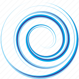 blue, circle, design, illustration, spiral, water, wave icon