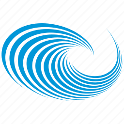 blue, flow, sign, tourism, water, wave icon