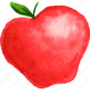 apple, cuisine, food, fruit, fruits, watercolor, watercolors icon