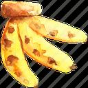 bananas, cuisine, food, fruit, fruits, watercolor, watercolors icon