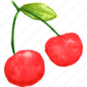 cherry, cuisine, food, fruit, fruits, watercolor, watercolors icon