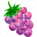 cuisine, food, fruit, fruits, grape, watercolor, watercolors icon