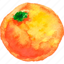cuisine, food, fruit, fruits, orange, watercolor, watercolors icon