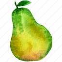 cuisine, food, fruit, fruits, pear, watercolor, watercolors icon