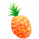 cuisine, food, fruit, fruits, pineapple, watercolor, watercolors icon