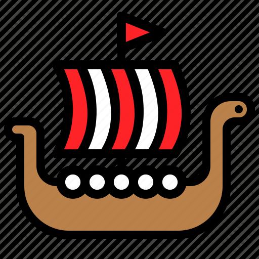 boat, marine vessel, ship, vehicle, viking ship, watercraft icon